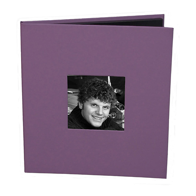 CD Holder with 2x2 Front Cover Photo Window, Purple Image 0