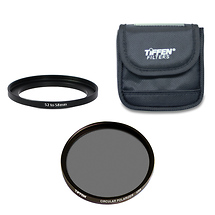 Tiffen 58mm Circular Polarizer with 52mm to 58mm Step Up Ring and Pouch