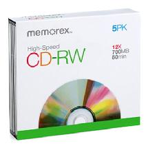 Memorex CD-RW 80 High Speed with Slimline Jewel Case (5 Pack)