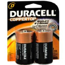 Duracell D Cell Coppertop Alkaline Batteries (2 Pack)