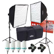 RPS Studio Fluorescent Dual Square Folding Deluxe High Power Softbox Photography Lighting Kit