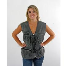 Dot Line Corp. Stone-Washed Photo Vest (Gray, XL)
